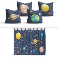 Cortina Infantil E Almofadas Sistema Solar Kit Decoração