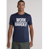 "Camiseta Masculina Esportiva Ace ""Work Harder"" Manga Curta Gola Careca Azul Marinho"