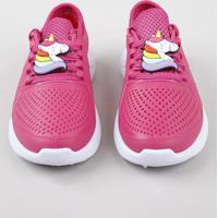 Tênis Infantil Esportivo Running Com Unicórnio Rosa Escuro