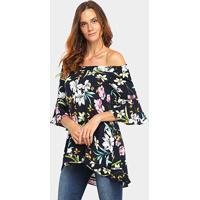 Blusa Lily Fashion Bata Ombro A Ombro Floral Feminina - Feminino-Marinho