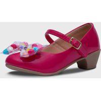 Sapato De Salto Pópidí Menina Laço Pompom Pink