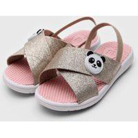Sandália Molekinha Infantil Panda Dourada