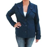 Casaco Energia Fashion Botone Detalhe Ombro Azul