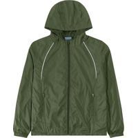 Jaqueta Verde Em Nylon Com Aplique
