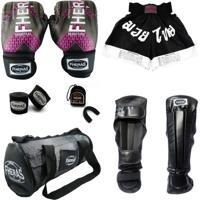 Kit Muay Thai Top - Luva Bandagem Bucal Caneleira Shorts Bolsa - 14 Oz Iron Rosa - Fheras Preto