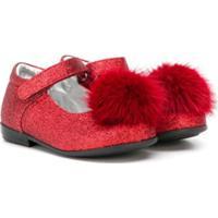 Monnalisa Sapato Com Pompom - Vermelho