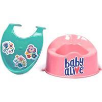 Acessórios Para Boneca Baby Alive - Babador Verde E Penico Rosa - Cotiplás