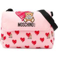 Moschino Kids Bolsa Maternidade Com Estampa De Coração - Rosa