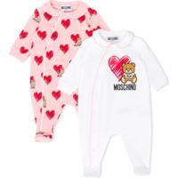 Moschino Kids Macacão De Bebê Com Logo E Coração - Branco
