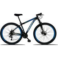 Bicicleta Aro 29 Quadro 21 Alumínio 21 Marchas Freio A Disco Mecânico Preto/Azul - Dropp