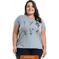 T-Shirt Com Estampa Floral Cinza