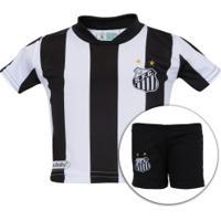 Kit De Uniforme De Futebol Do Santos Para Bebê: Camisa + Calção - Infantil - Preto/Branco