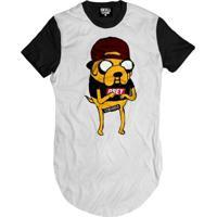Camiseta Skull Clothing Longline Jake Swag Adventure Masculina - Masculino-Branco+Preto