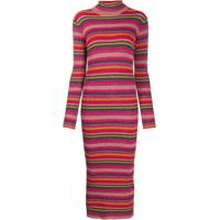 Twin-Set Ribbed Striped Dress - Rosa