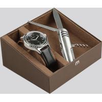 Kit De Relógio Analógico Mondaine Masculino + Canivete - 76676G0Mvnh1Kc Preto - Único