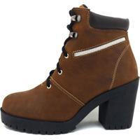 Bota Cano Curto Couro Atron Shoes Na Cor Castor 9405