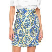 Saia Triton Curta Estampada Amarela/Azul
