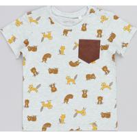 Camiseta Infantil Estampada De Bichos Com Bolso Manga Curta Gola Careca Cinza Mescla Claro