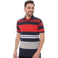 Polo Aleatory Masculina Striped Marinho Vermelho Branco E Cinza