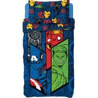 Colcha Com Fronha Infantil Avengers Poliéster Azul