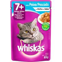 Ração Para Gatos Whiskas Adulto 7+ Anos Sachê Sabor Peixe/Pescado Com 85G