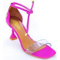 Sandalia Vértice Tira Transparente Salto Fino Flare Feminina - Feminino-Pink