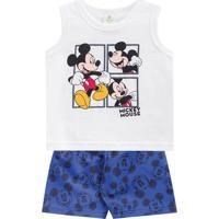 Conjunto De Regata + Bermuda Mickey Mouseâ®- Branco & Azubrandili