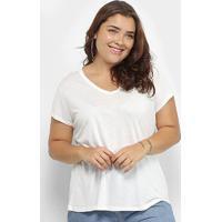Blusa Lecimar Básica Plus Size Feminina - Feminino-Off White