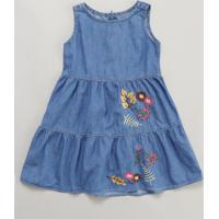 Vestido Jeans Infantil Com Bordado Sem Manga Azul Médio