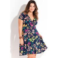 ebbffda78 Vestido Transpassado Floral Plus Size Quintess