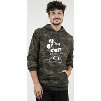 Blusão Masculino Mickey Estampado Camuflado Em Moletom Felpado Com Capuz E Bolso Verde Militar
