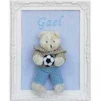 Porta Maternidade Quadro Urso Bege Roupa De Crochê E Bola De Futebol Quarto Bebê Infantil Menino Azul Potinho De Mel - Kanui