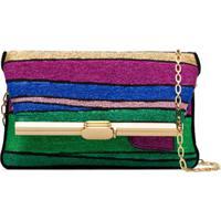 Bienen Davis Pm Striped Clutch Bag - Verde
