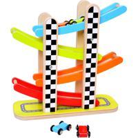 Pista De Corrida Tooky Toy Com Carrinhos Madeira Azul/Vermelho