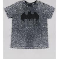 Camiseta Juvenil Batman Marmorizada Manga Curta Preta