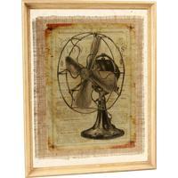 Quadro Decorativo Vintage De Parede Ventilatore Com Moldura