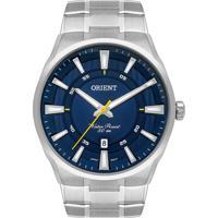 Relógio Orient Masculino Mbss1370 D1Sx Pulseira E Caixa Aço Prateado Mostrador Azul