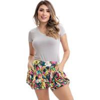 Short Saia Clara Aruda Balonê Estampado Feminino - Feminino-Amarelo