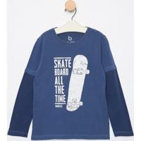 Camiseta Skate- Azul Escuro & Brancobakulelãª