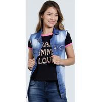 Colete Feminino Jeans Bolso Puídos Marisa