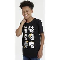 Camiseta Juvenil Caveiras Manga Curta Marisa