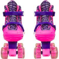 Patins Roller Infantil 4 Rodas Paralelas Roxo Com Luz De Led Ajustável De Menina - Unik Toys Multicolorido