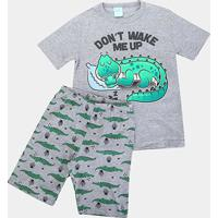 Pijama Infantil Kyly Jacaré Fluorescente Masculino - Masculino-Mescla