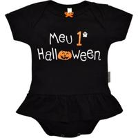 Body Saia Manga Curta Bebê Nigambi Meu 1º Halloween Feminina - Feminino-Preto