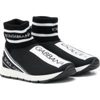 Dolce & Gabbana Kids Tênis Cano Alto Com Estampa De Logo - Preto