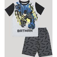 Pijama Infantil Batman Manga Curta Cinza Mescla