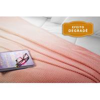 Manta Fleece Degradê Solteiro Mélodie 1,60 M X 2,40 M Com 1 Peça - Produto Importado Lepper Rosa