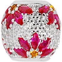 Pingente Em Prata Separador Flor Com Zircônia Rosa - Pg20300 Prata