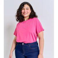 Blusa Com Aplicação De Pérolas Curve E Plus Size Rosa