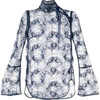 Mame Kurogouchi Blusa Translúcida Com Renda - Azul